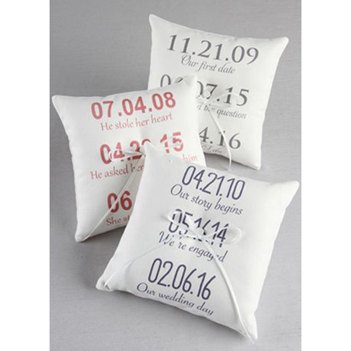 Personalized Milestone Canvas Ring Bearer Pillow David's Bridal photo