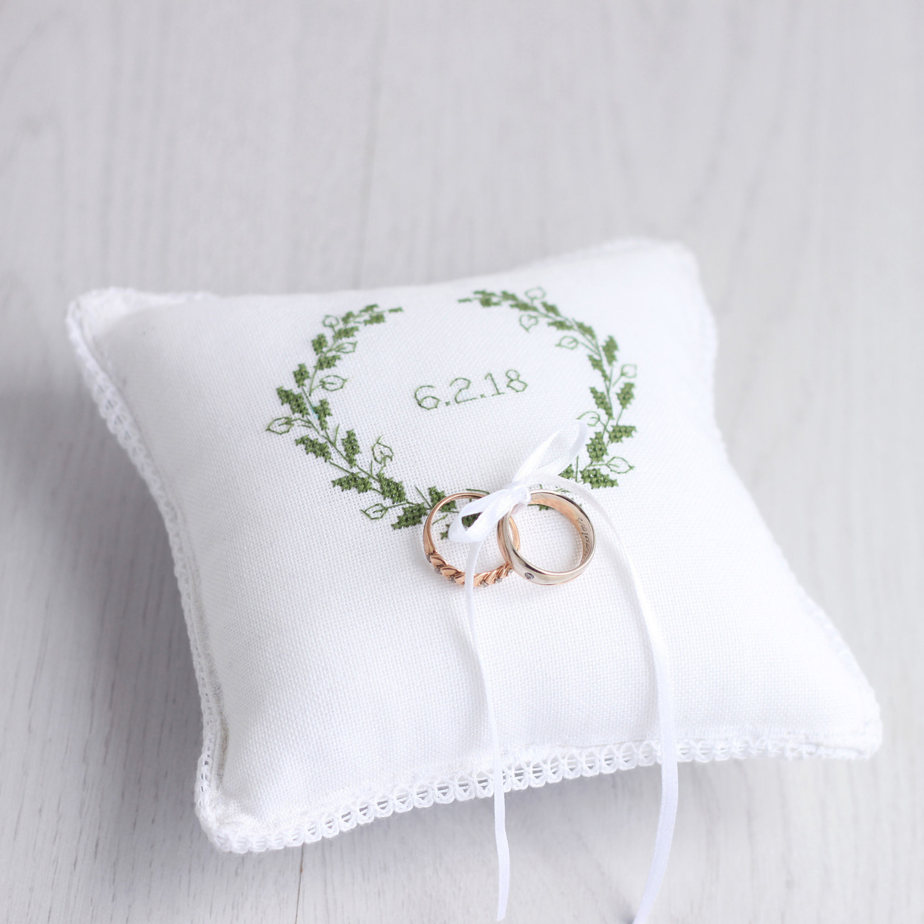 RedPin Ring Bearer Pillow with Laurel Wreath Etsy photo