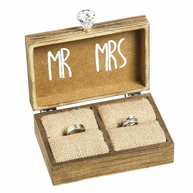 Cypress Home Mr. and Mrs. Wooden Ring Holder Decorative Box Amazon photo