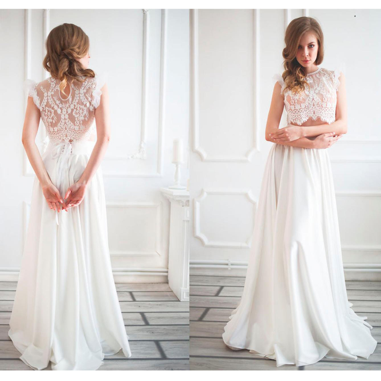 Model showing back and front of Anna Skoblikova Two-Piece Boho wedding dress photo