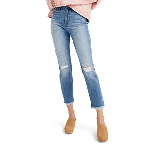 Light-wash Madewell cropped high waist jeans with ripped knees photo
