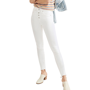 White high-waist Madewell skinny jeans with exposed button fly photo
