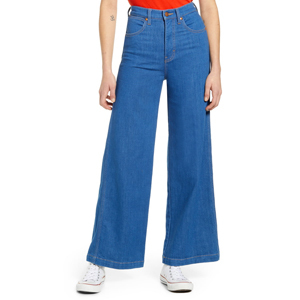 High-waist wide-leg blue jeans from Nordstrom photo