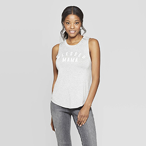 Blessed Mama Scoop Neck Tank Top photo