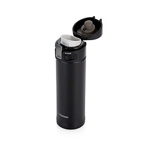 Tall black thermos with flip-up lid photo