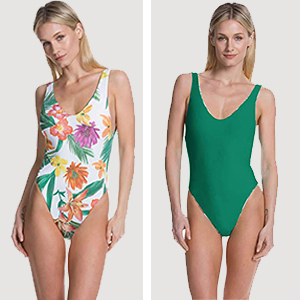 Woman wearing a green and tropical reversible one-piece swimsuit photo