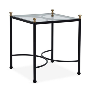 Outdoor side table with gold accents photo