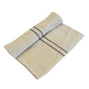 Tan table runner with two dark stripes made photo