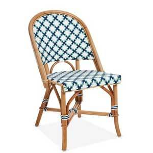 White and navy diamond pattern bistro chair with wooden structure photo