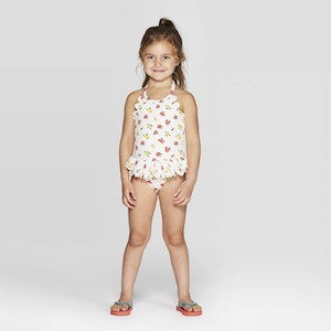 Mila & Emma Toddler Girls' Scallop Floral Swimsuit photo