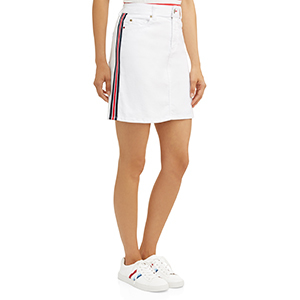 White EV1 from Ellen Degeneres denim skirt with red and blue stripe down the side photo