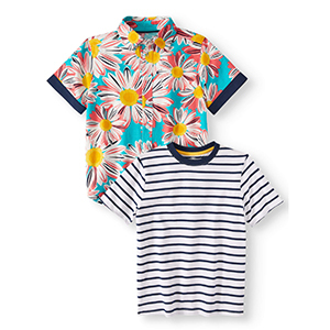 Two boys' t-shirts, one with stripes and one with a colorful sunflower pattern photo
