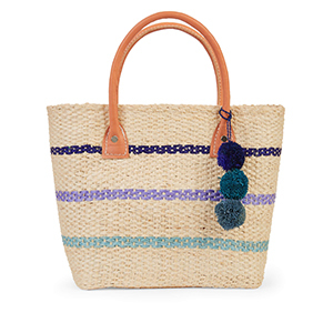 Tan straw tote bag with stripes and a pom-pom tassel photo