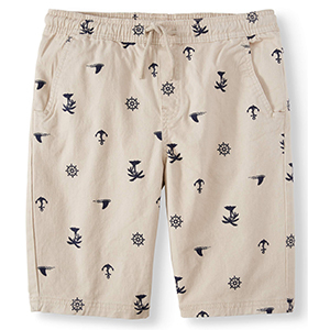 Tan boys' jogger shorts printed with navy nautical symbols photo
