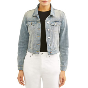 Woman wearing a light denim jacket with black shirt and white jeans. photo