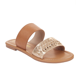 Brown leather sandal with two straps. photo