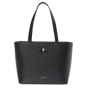 A small black tote featuring a small bow and upright handles photo
