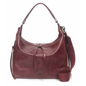 A brick-red leather bag with a double zipper and upright handle photo