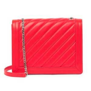 Bright red leather mini crossbody purse with a chain and leather strap and diagonal quilted stitching photo