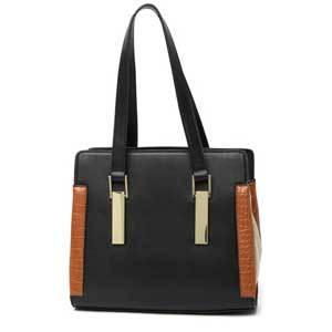 Black and chesnut satchel with gold detailing with upright handles photo