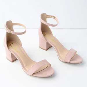 pink suede strappy sandal heels photo