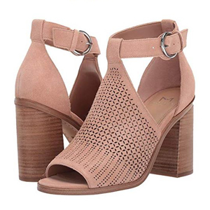 light pink suede buckle sandals photo