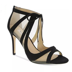 black sandal heel made of satin, leather, and mesh photo