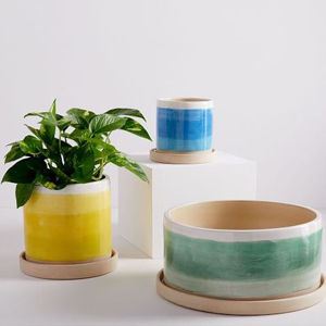 three ombre planters of different sizes in green, blue, and yellow photo