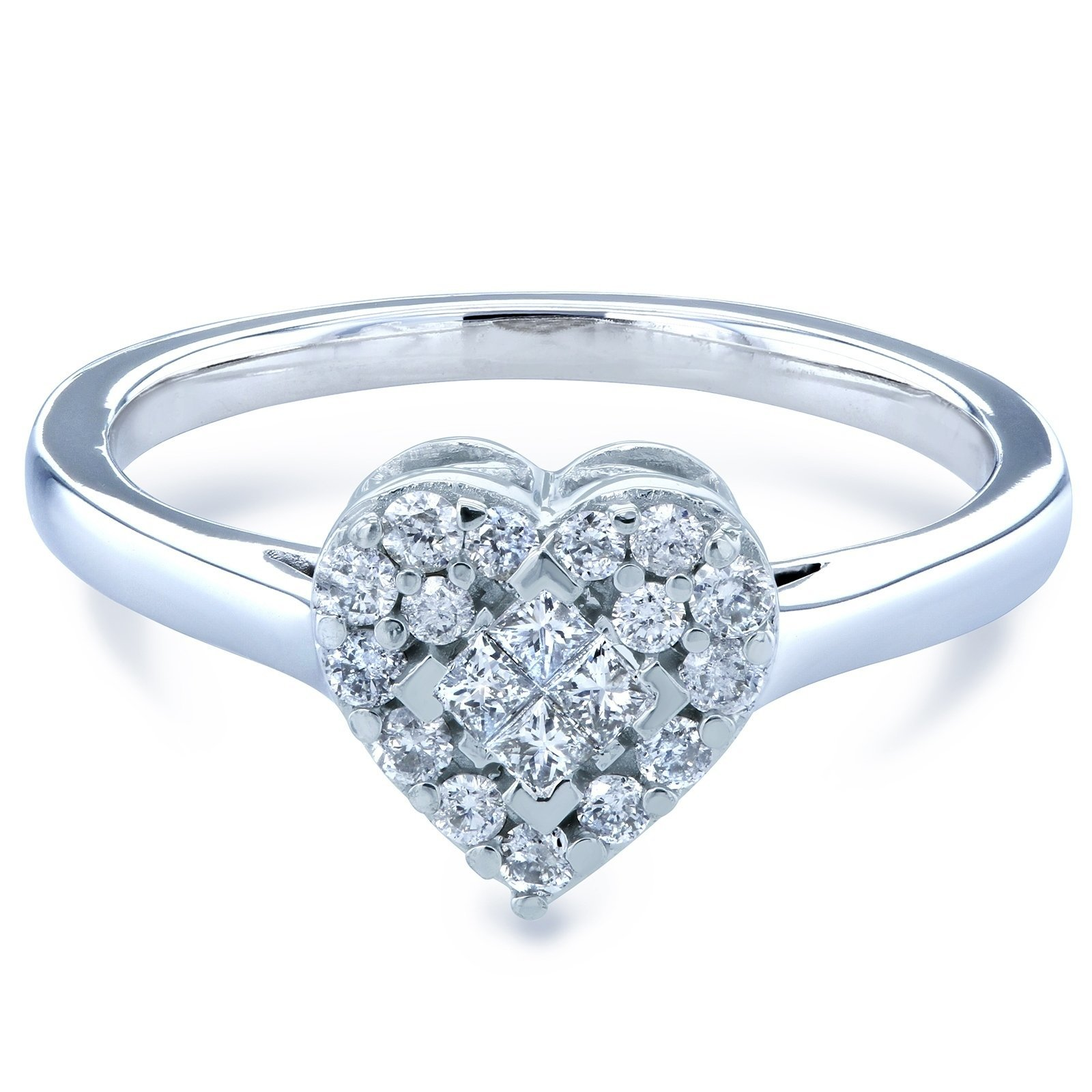 Annello by Kobelli 10k White Gold 1/4ct TDW Heart Cluster with Invisible Set Princess Center Diamond Engagement Ring from Overstock photo