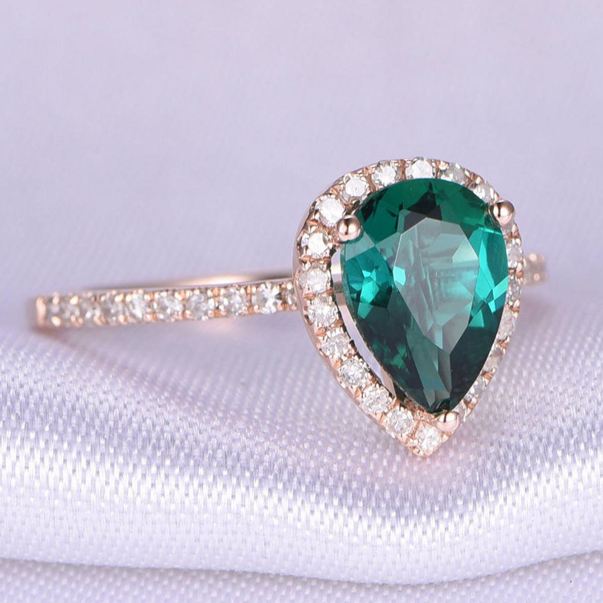 Mile Gem Pear-Shaped Emerald Engagement Ring in 14k Rose Gold from Etsy photo