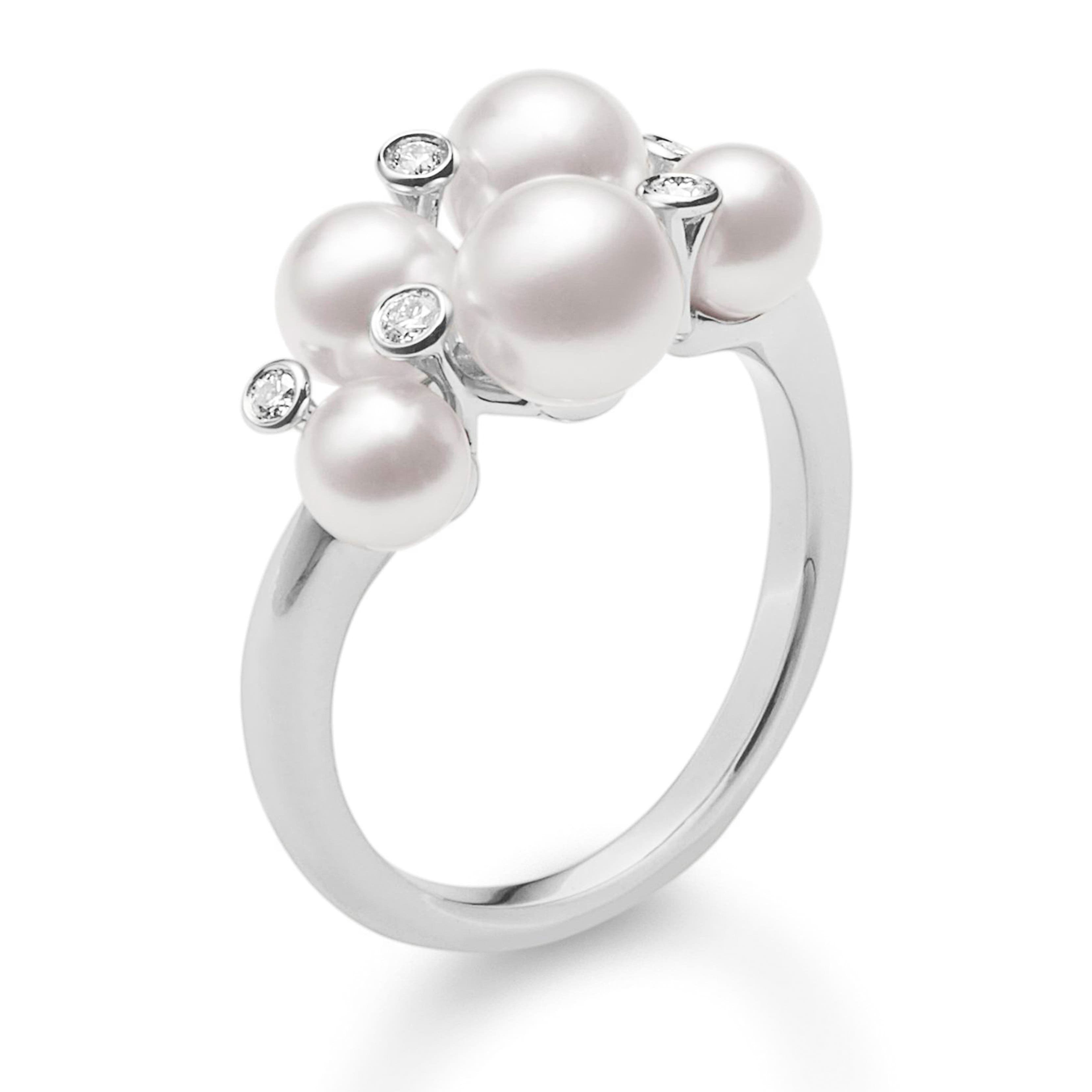 Mikimoto Japan Collections Diamond & Pearl Cluster Ring from Nordstrom photo