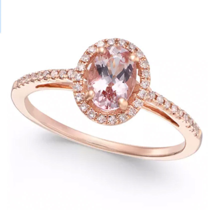 Morganite and Diamond Ring in 14k Rose Gold from Macys photo