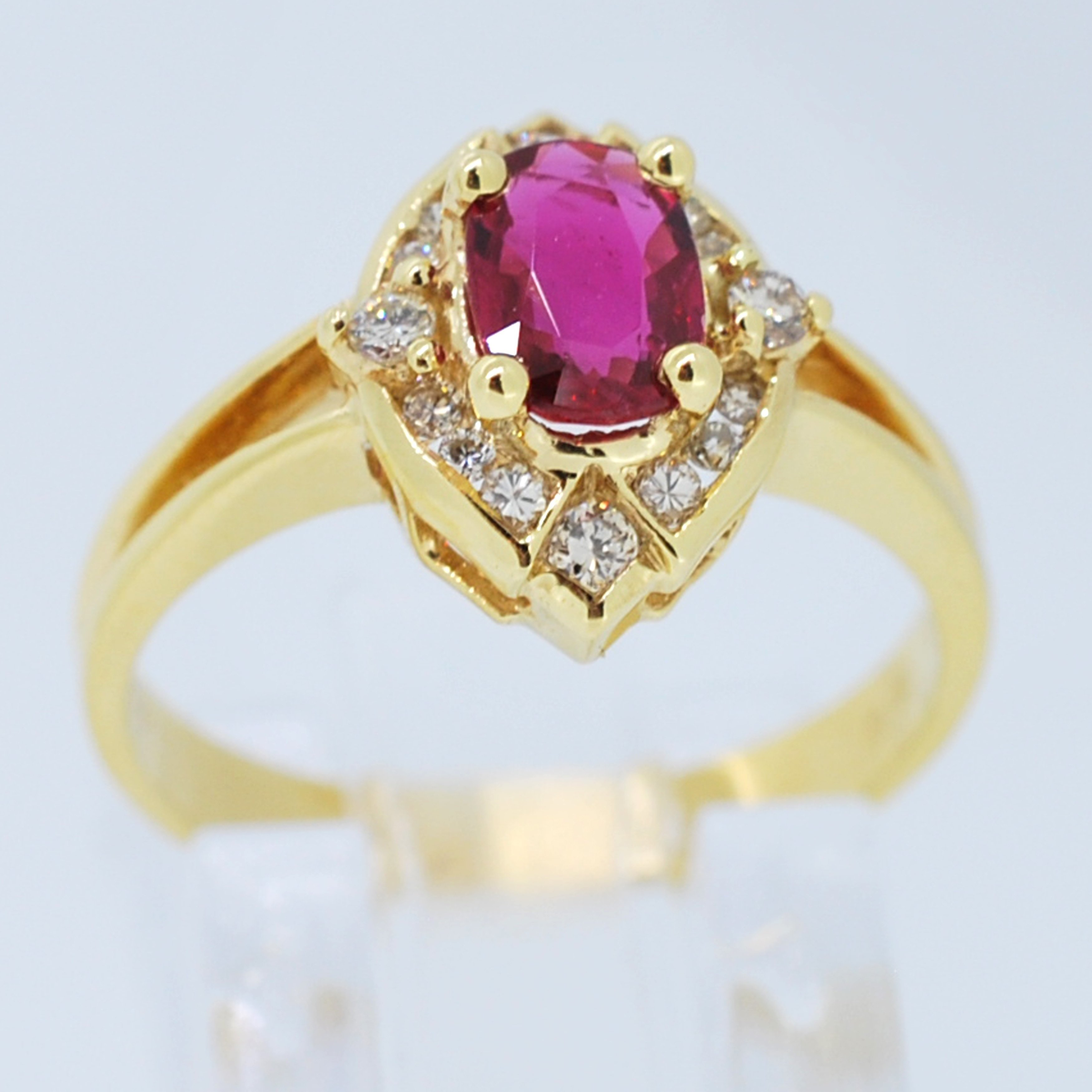 Kabella 18kt yellow gold oval Ruby and Round Diamonds Vintage Ring from Overstock photo