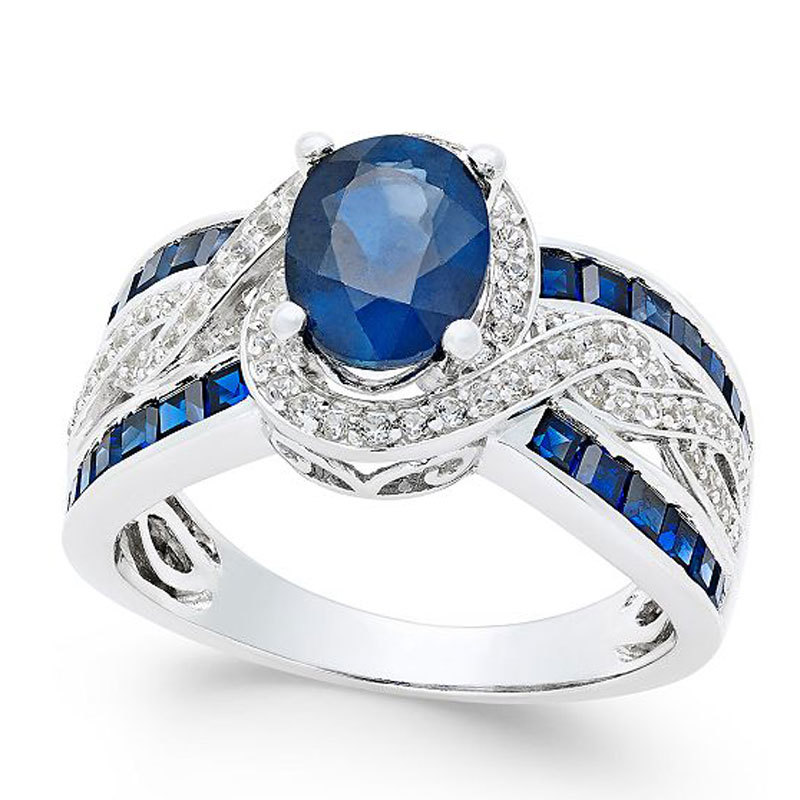 Macy's Sapphire and Diamond Ring in 14k White Gold from macys photo