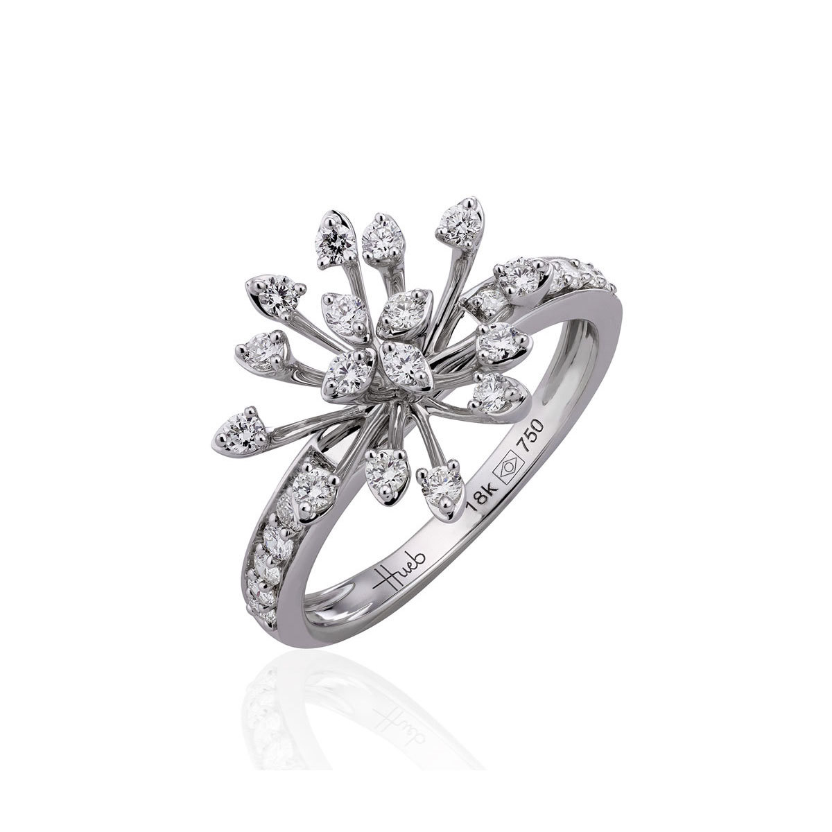Hueb Luminus 18k White Gold Diamond Stemmed Ring Hueb ring from the Luminus Collection from Neiman Marcus photo
