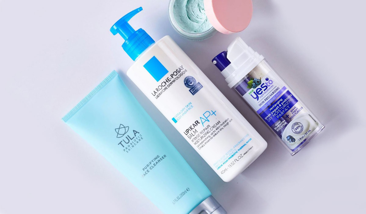 Beauty products by Tula, La Roche-Posay, Algenist, and Yes To photo