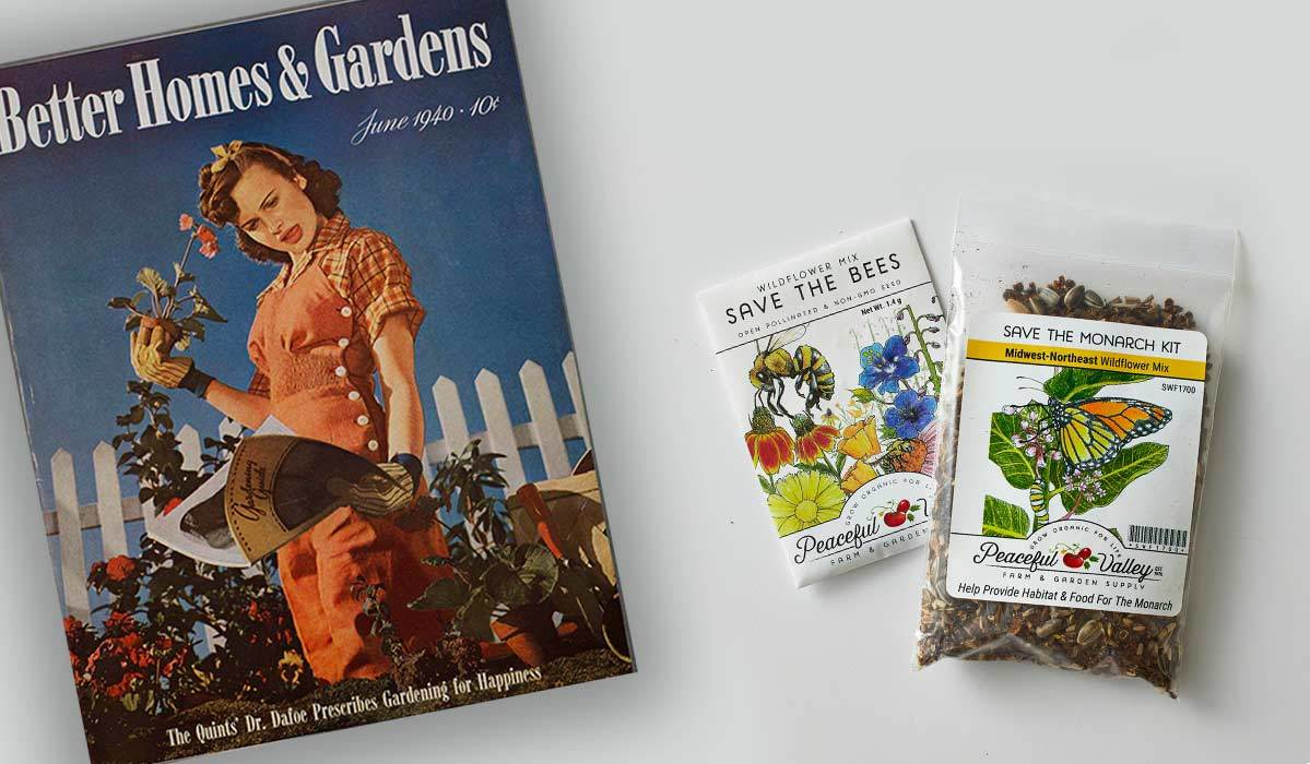 Garden cuttings next to a 1940 cover of Better Homes & Gardens Magazine photo