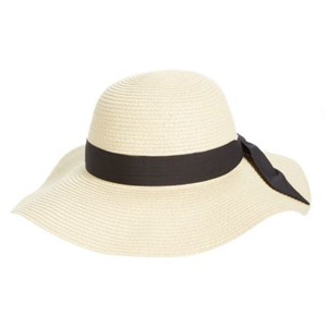 straw hat with black band and bow photo