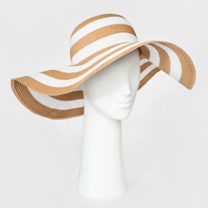 floppy straw hat with white stripes on a mannequin head photo