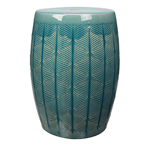 Teal ceramic garden stool with subtle geometric and stripe pattern photo