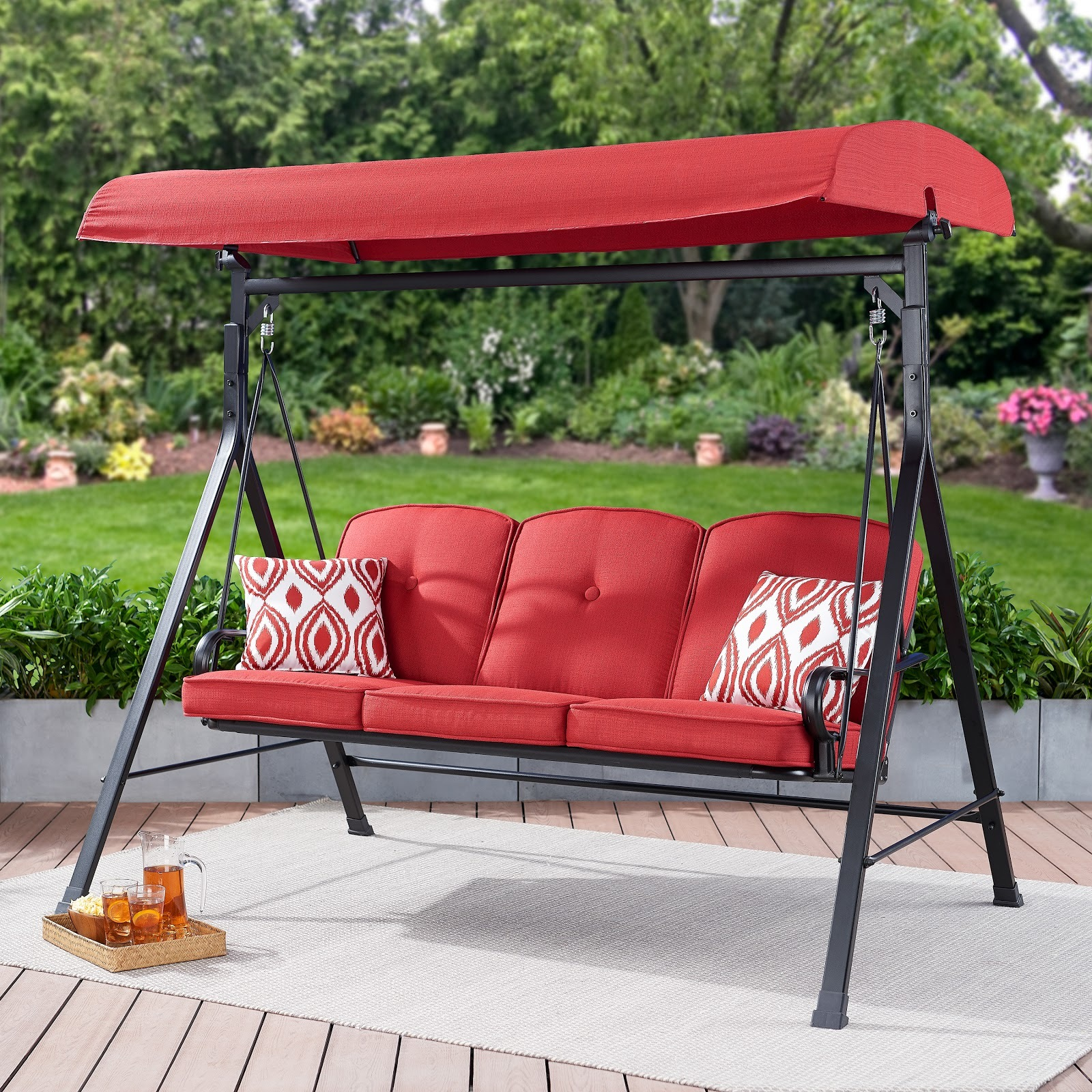 Mainstays Carson Creek 3-Seat Canopy Patio Swing with Red Cushions photo
