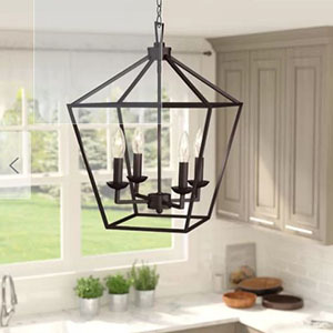 Metal pendant light with four candle light fixtures photo