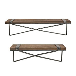 Two shelves with metal crossed rungs. photo