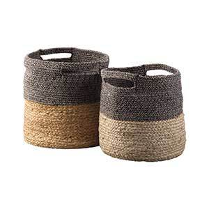 Two dual-toned braided jute baskets photo