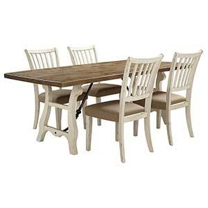 Light brown and white 5-piece dining room set photo
