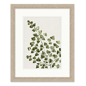 Light wooden framed watercolor painting of a green leafy branch photo