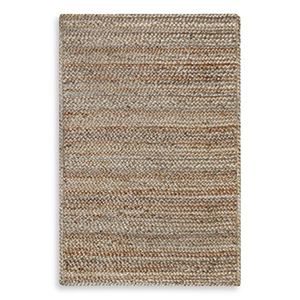 Neutral toned woven rug photo