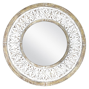 Round wall mirror with a rustic white finish photo