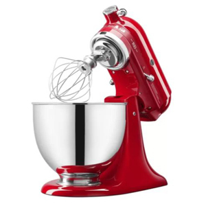 Red KitchenAid stand mixer with a tilted design photo