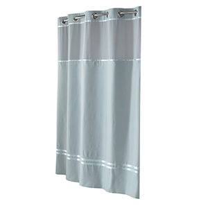 Blue Hookless shower curtain and liner set photo